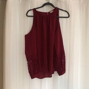 Red Open shoulder top with lace detail